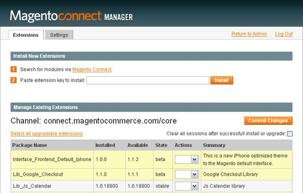 Magento connect - Manager