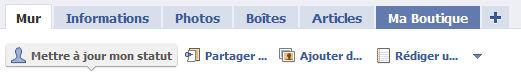 L'onglet 'Ma boutique' sur votre compte Facebook