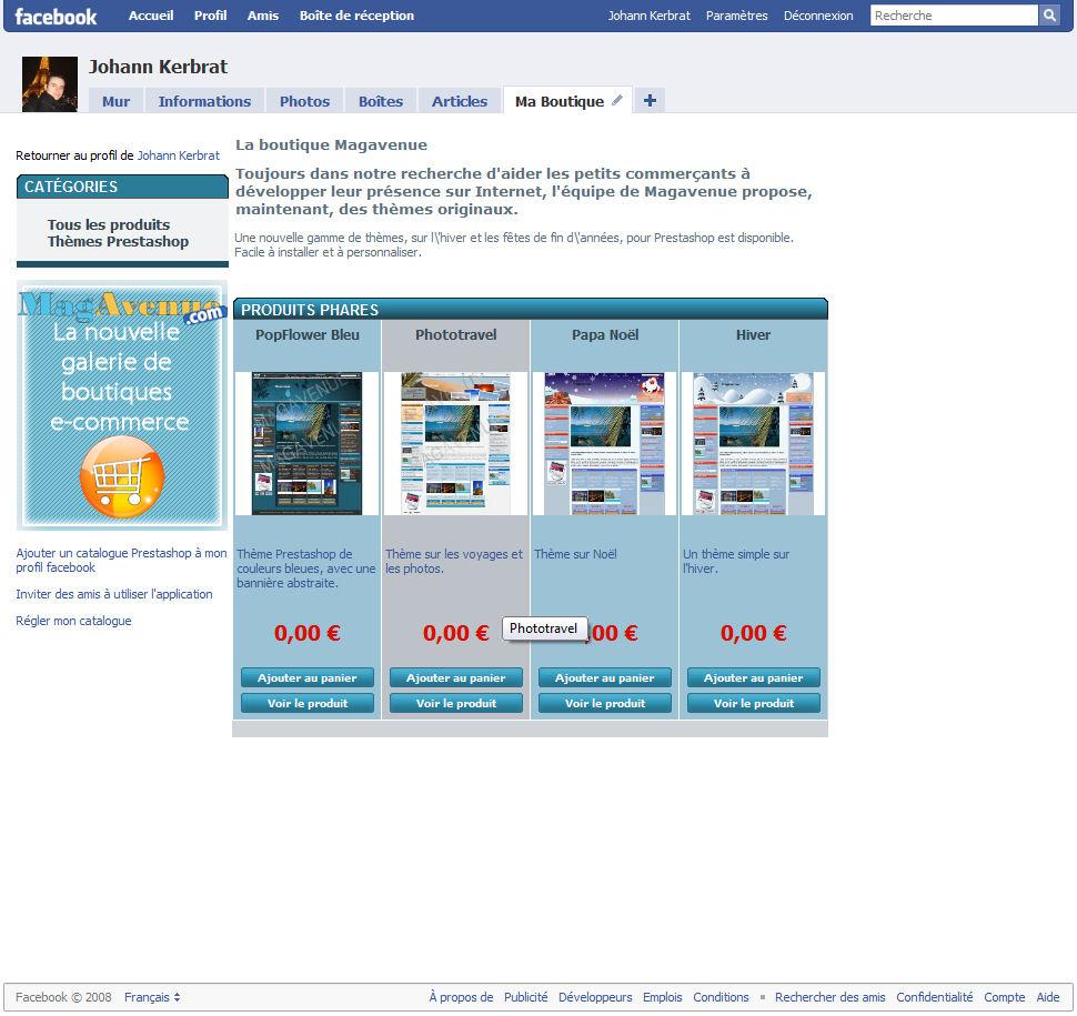 La page d'accueil de votre boutique sur votre compte Facebook