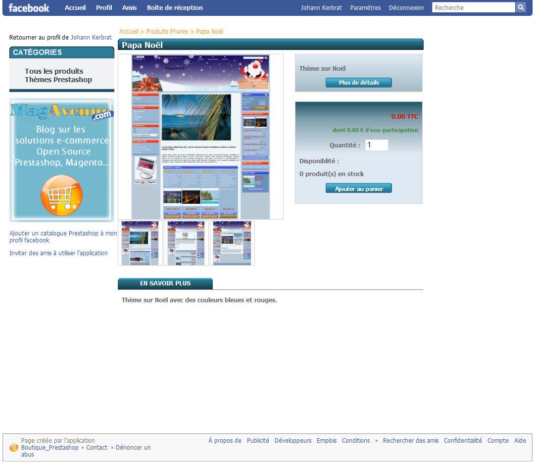 Le détails d'un article de votre boutique sur votre compte Facebook