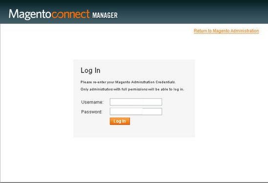 Magento connect - login