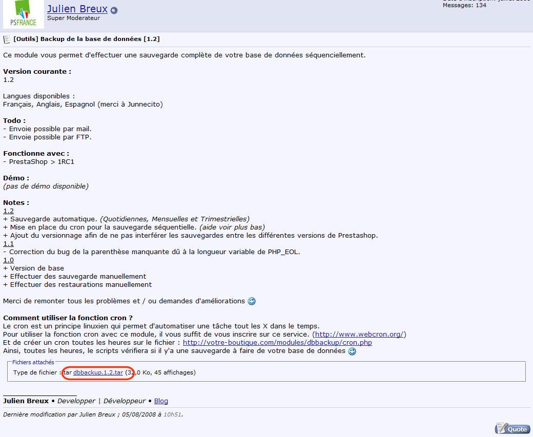 Article sur la sauvegarde de la base de données Prestashop